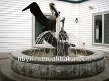 Bronze pelican water fountain garden decoration sculpture