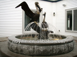 Bronze pelican water fountain garden decoration sculpture