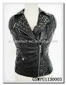 el más reciente 2013 negro de la moda de las señoras de la pu de cuero chaleco