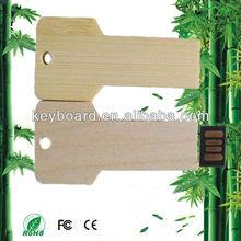 novelty design key shape bamboo usb flash drive