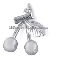 Fashion beautiful silver alloy cherry fruit charm with ring