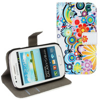 Sun Flower Slim Flip Wallet Card Stand Pouch Leather Case Cover For Samsung Galaxy S3 Mini I8190