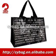 Latest Classic Black-White Fashion PP Woven beach Bag