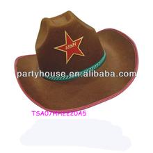 Unique design cheap brown cowboy felt top hat for hen party