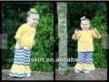 Atacado nome da marca de roupas de bebê e criança adorável puro algodão roupa tulipa amarela dot top& azul chevron calças ruffle conjunto terno do miúdo