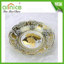 Porcelain pasta plate/porcelain round deep plate/gold porcelain soup plate for restaurant