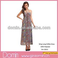 Hot Sale Ladies Floral Printed Wrap Long Chiffon Dress,Elegant Halter Dress