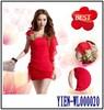 OEM Custom Evening Dresses Knee Length Red Chiffon Evening Dresses