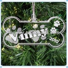 Pet Product Acrylic Bone Shape Ornament For Dog House Decoration