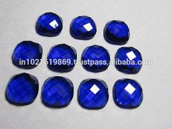 12 mm Cushion Checkar cut Board Cabochon - Gorgeous Kashmir Sapphire Blue Colour - QUARTZ - super Super Sparkle 10 pcs If you