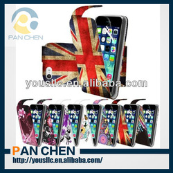 Print PU Leather flip mobile phone case cover for apple iphone 5c
