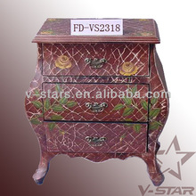 FD-VS2318 Hand painted flower cabinet Chinese furniture with 3 drawers