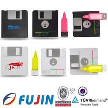 CD shape marker fluorescent highlighter for 3 color in 1 promotion to import novelties promotional highlighter pen stationery