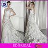 2014 Sleeveless V Neck Pleat Ruffle Wedding Dress Designers(ED-W116)