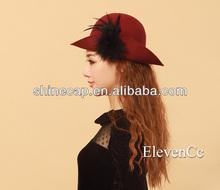 Wool equestrian cap wool felt hat with feather church hat