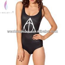 One Piece Swimwear 2014 New Design Sexy Young Girls Black Bikini