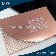Professional blend of creative design rose gold die cut metal card