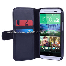 2014 fiber lining wallet PU leather mobile phone cover for HTC M8 with 2 card holder