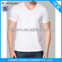 Oem Service 90% Cotton 10% Spandex Mixcolor V Neck Organic Cotton T Shirts