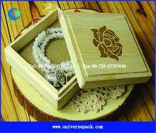 Logo printed square wood jewel box