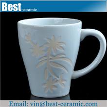 light blue glazed handpainted stoneware mugs