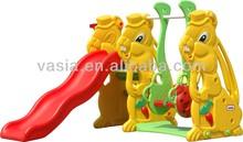 plastic baby rabbit slide and swing play set (VS3-706)