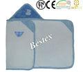suave y esponjosa azul de la marca nombre de paño grueso y suave polar bebé con capucha toalla manta