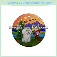 Fantasy Xmas&Amp,White Toy Poodle Ornament - Round