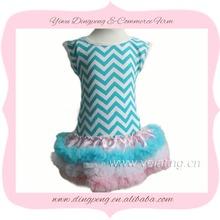 sky blue white chevron stripe with light pink chiffon ruffle petti dress for kids girl