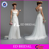 Cap Sleeve Sexy Design See Through Top Satin Sash Tull Long Dress Wedding