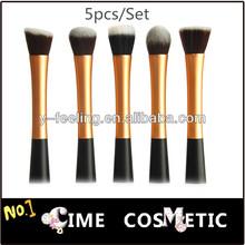 5pcs/set Makeup Tools Brush Gold Powder Blush Brush Cosmetic Round+Pointy+Angled+Flat+Fiber Brush