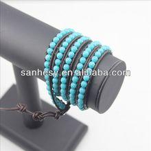 Fashion turquoise and leather bracelet