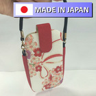 leather string case bag for mobile phone and camera in japanese traditional pattern design