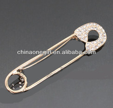 Rhinestone Safety Pin Fashion Brooch