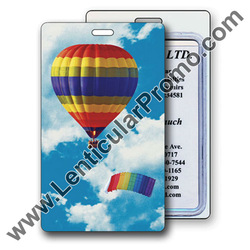 Lenticular 3D Promotional Luggage Tag with Rainbow Striped Hot Air Balloon and Parachute in Cloudy Summer Sky