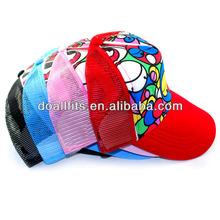 high quality heat transfer print children 's mesh cap with cartoon