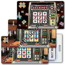 Lenticular 3D Gift Souvenir Luggage Travel Tag with Las Vegas Casino Slot Machine Spins Reels for a Jackpot