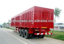 China manufacturer Tri axles van semi trailer box trailers/grain semi trailer dimensions