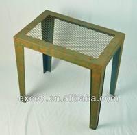 Shabby metal mesh table