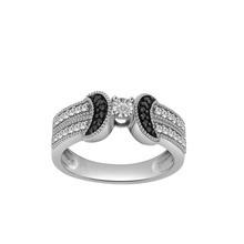 0.925Sterling Silver 0.22 Ct White & Black Diamond Band 3906