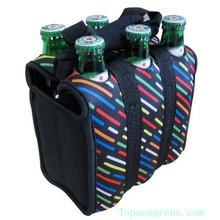 Customized neoprene 6 pack bottle beer/wine tote carrier bag
