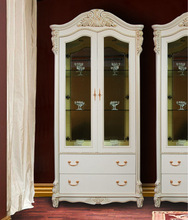 Glass Cabinet solid wood white 77570