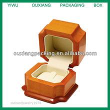 NEW WOOD ENGAGEMENT OR WEDDING RING JEWELRY BOX BEIGE NUBUCK INSIDE FINISH