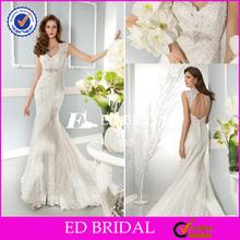 XL814 cap sleeve lace fishtail floor length backless floor 2014 tunisian wedding dress