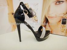 new fashion ladies fancy shoes black pu women high heel sandals with cz diamond