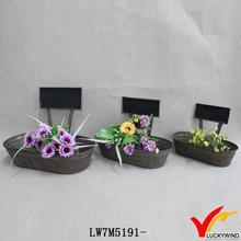 vintage metal zinc flower planter with chalkboard
