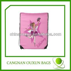 2014 low price polyester pink drawstring bag