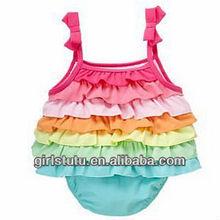 Newest coming infant bubble cotton rompers boutique multicolors knit cotton sunsuit vacation rainbow straps ruffle romper