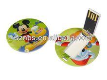 Novelty cartoon round card usb pendrive printing 2 sides full logo free