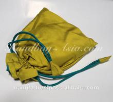 Light green Thai silk drawstring gift bag from Chiang Mai, Thailand